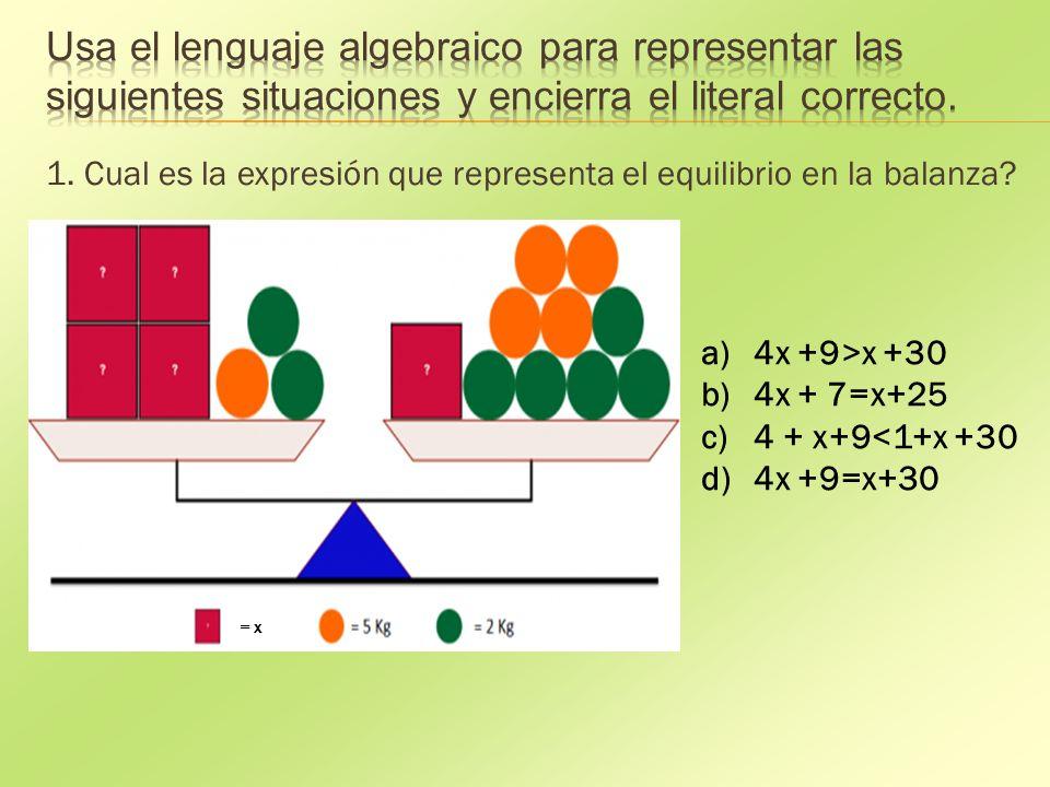 1. Cual es la expresión que representa el equilibrio en la balanza.