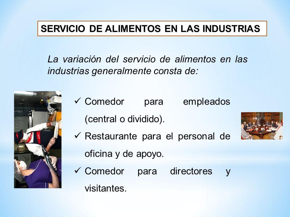 SERVICIO DE ALIMENTOS EN LAS INDUSTRIAS Comedor para empleados (central o dividido). Restaurante para el personal de oficina y de apoyo. Comedor para