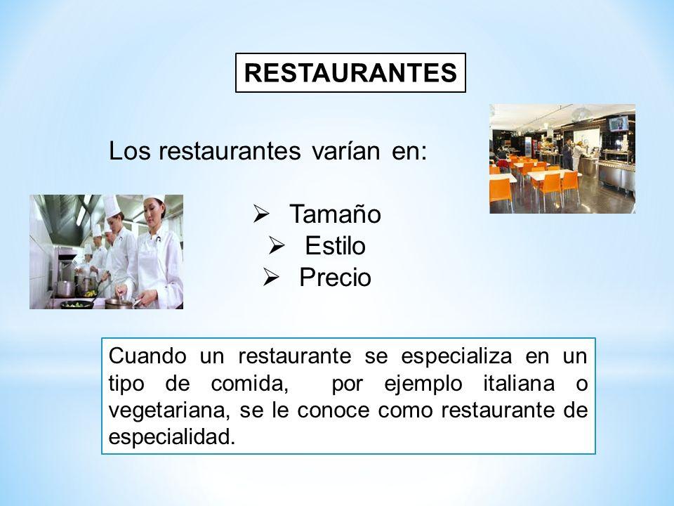 Los restaurantes varían en:  Tamaño  Estilo  Precio RESTAURANTES Cuando un restaurante se especializa en un tipo de comida, por ejemplo italiana o
