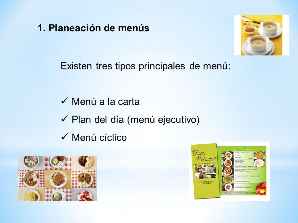 Existen tres tipos principales de menú: Menú a la carta Plan del día (menú ejecutivo) Menú cíclico 1.Planeación de menús