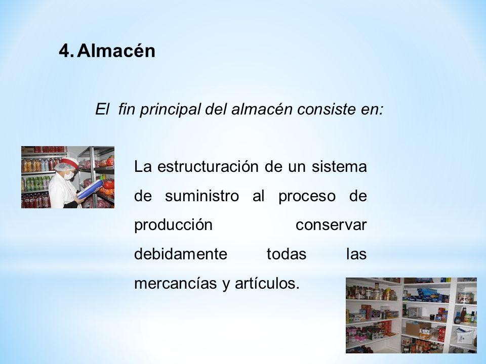 El fin principal del almacén consiste en: 4.Almacén La estructuración de un sistema de suministro al proceso de producción conservar debidamente todas
