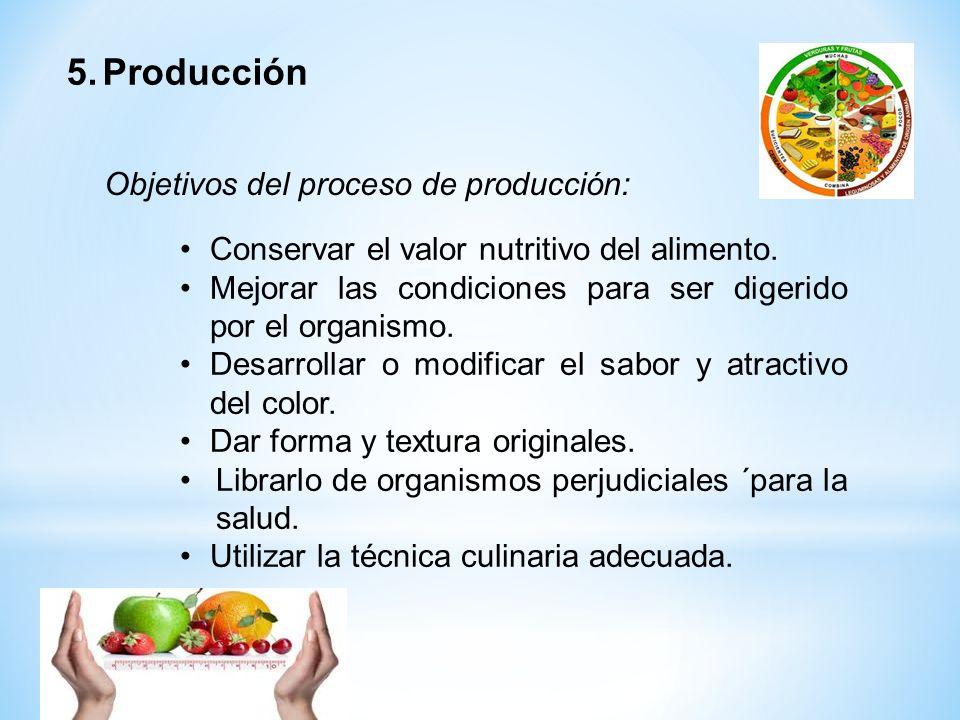 Conservar el valor nutritivo del alimento. Mejorar las condiciones para ser digerido por el organismo. Desarrollar o modificar el sabor y atractivo de
