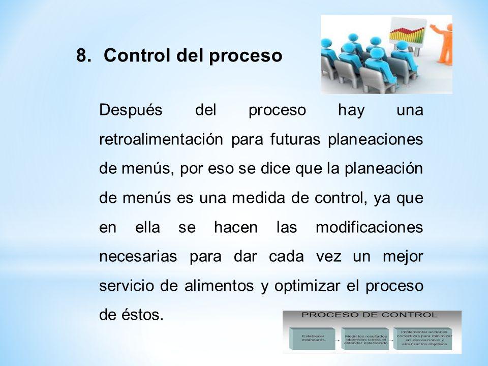 Después del proceso hay una retroalimentación para futuras planeaciones de menús, por eso se dice que la planeación de menús es una medida de control,