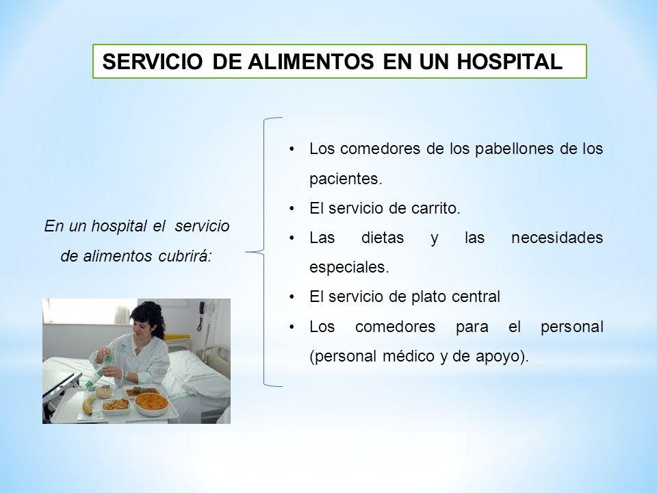 SERVICIO DE ALIMENTOS EN UN HOSPITAL En un hospital el servicio de alimentos cubrirá: Los comedores de los pabellones de los pacientes. El servicio de