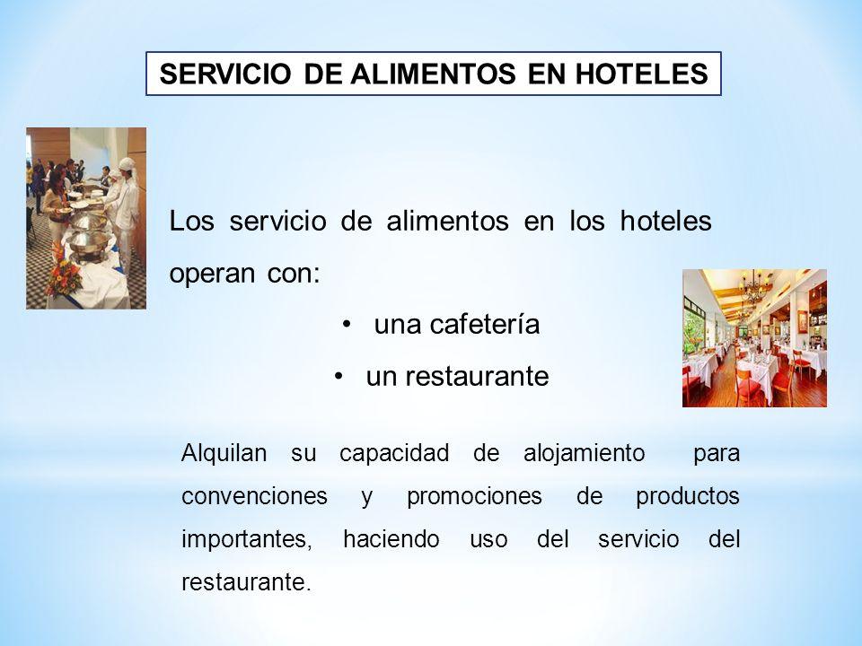 Los servicio de alimentos en los hoteles operan con: una cafetería un restaurante SERVICIO DE ALIMENTOS EN HOTELES Alquilan su capacidad de alojamient