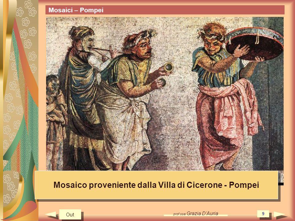 prof.ssa Grazia DAuria 9 Mosaici – Pompei Mosaico proveniente dalla Villa di Cicerone - Pompei Out