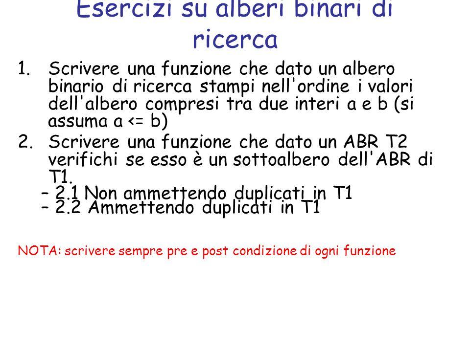 Esercizio 1 Scrivere una funzione che dato un albero binario di ricerca stampi nell ordine i valori dell albero compresi tra due interi a e b (si assuma a <= b) Pre condizioni: La funzione prende in ingresso un albero binario di ricerca e i due interi Variante dell esercizio: restituire una lista contenente i valori nell ordine compresi tra a e b