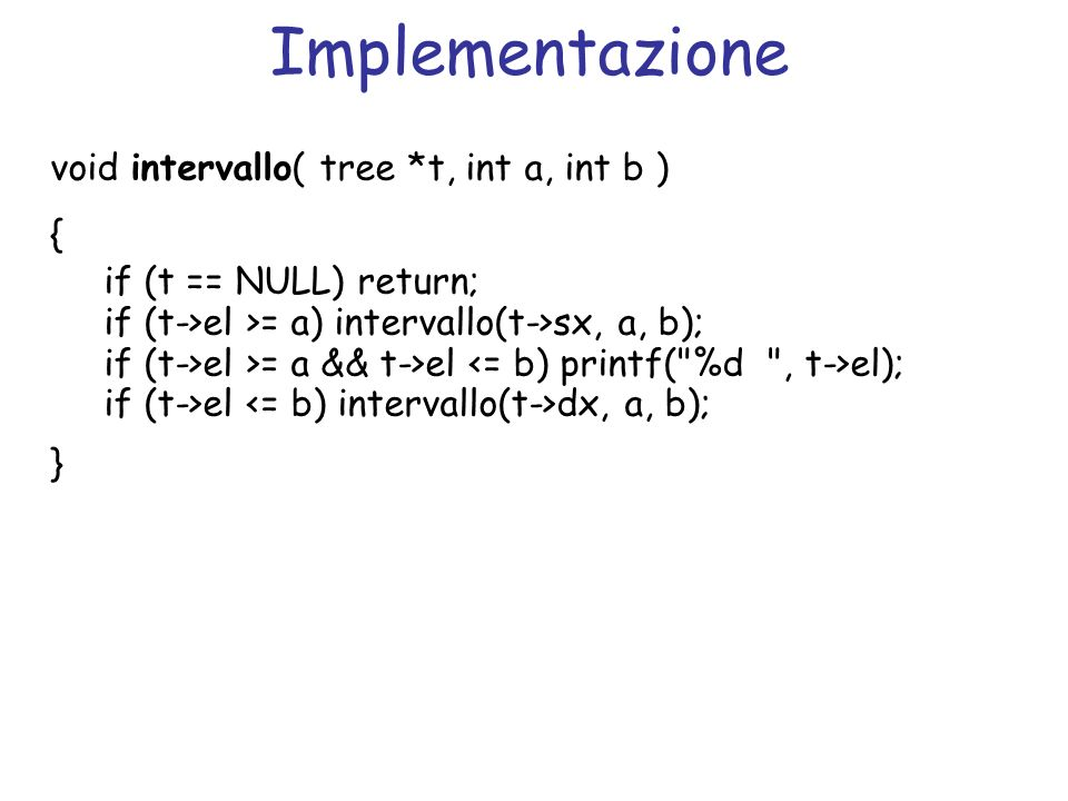 Implementazione void intervallo( tree *t, int a, int b ) { if (t == NULL) return; if (t->el >= a) intervallo(t->sx, a, b); if (t->el >= a && t->el el); if (t->el dx, a, b); }