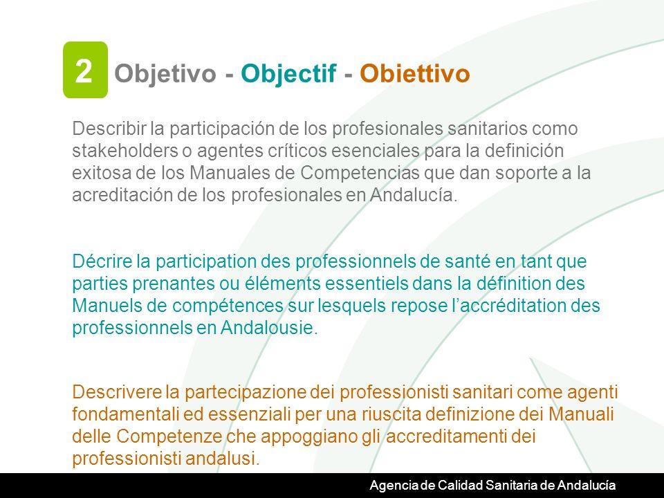 Agencia de Calidad Sanitaria de Andalucía Describir la participación de los profesionales sanitarios como stakeholders o agentes críticos esenciales para la definición exitosa de los Manuales de Competencias que dan soporte a la acreditación de los profesionales en Andalucía.