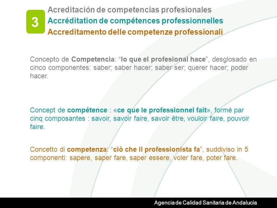 Agencia de Calidad Sanitaria de Andalucía Concepto de Competencia: lo que el profesional hace, desglosado en cinco componentes: saber; saber hacer; saber ser; querer hacer; poder hacer.