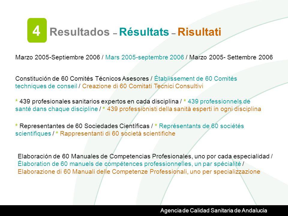Agencia de Calidad Sanitaria de Andalucía Resultados – Résultats – Risultati 4 Marzo 2005-Septiembre 2006 / Mars 2005-septembre 2006 / Marzo 2005- Settembre 2006 Constitución de 60 Comités Técnicos Asesores / Établissement de 60 Comités techniques de conseil / Creazione di 60 Comitati Tecnici Consultivi * 439 profesionales sanitarios expertos en cada disciplina / * 439 professionnels de santé dans chaque discipline / * 439 professionisti della sanità esperti in ogni disciplina * Representantes de 60 Sociedades Científicas / * Représentants de 60 sociétés scientifiques / * Rappresentanti di 60 società scientifiche Elaboración de 60 Manuales de Competencias Profesionales, uno por cada especialidad / Élaboration de 60 manuels de compétences professionnelles, un par spécialité / Elaborazione di 60 Manuali delle Competenze Professionali, uno per specializzazione