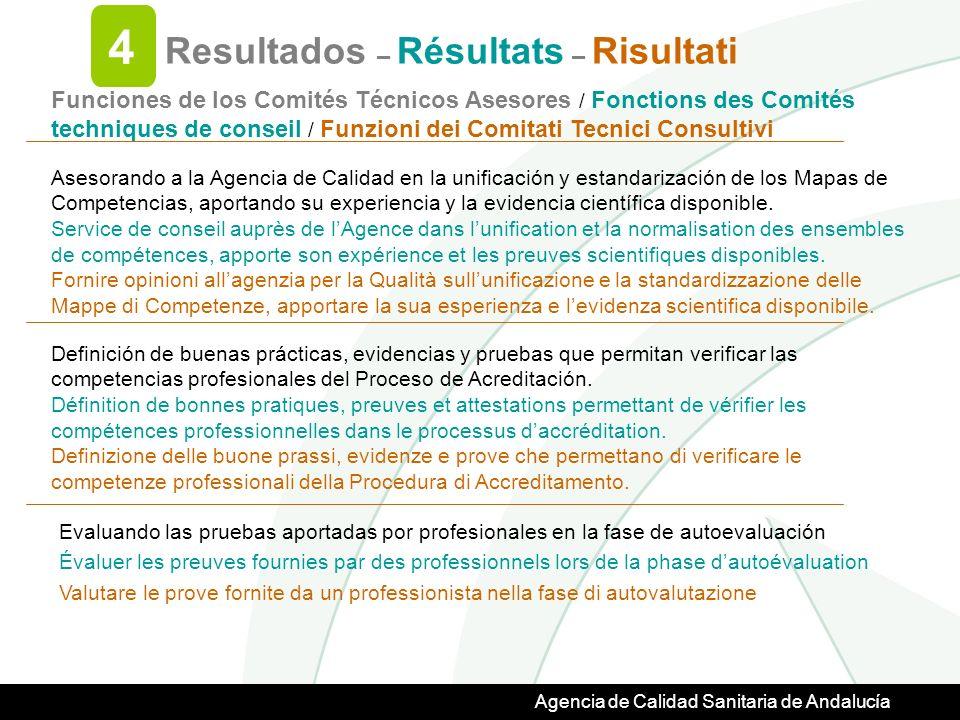 Agencia de Calidad Sanitaria de Andalucía Resultados – Résultats – Risultati 4 Asesorando a la Agencia de Calidad en la unificación y estandarización de los Mapas de Competencias, aportando su experiencia y la evidencia científica disponible.