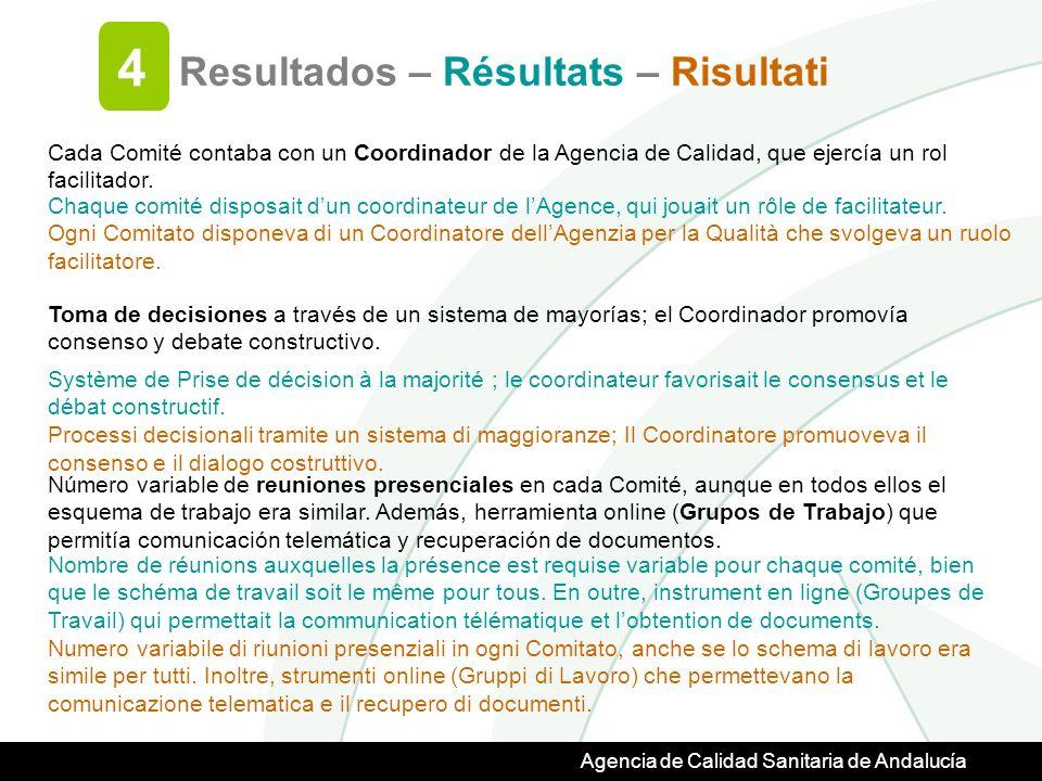 Agencia de Calidad Sanitaria de Andalucía Resultados – Résultats – Risultati 4 Cada Comité contaba con un Coordinador de la Agencia de Calidad, que ejercía un rol facilitador.