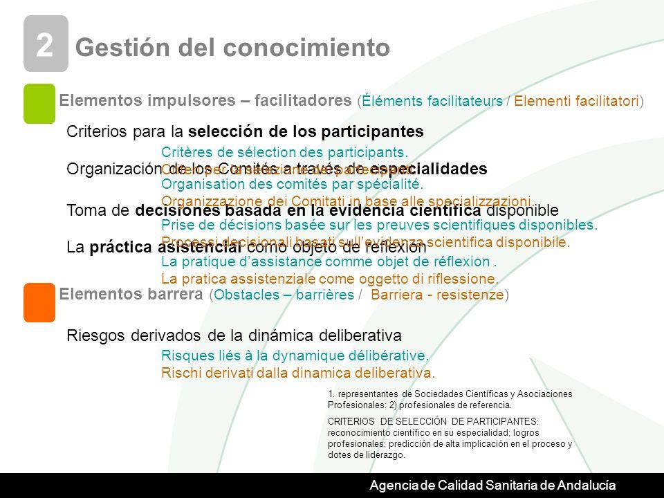 Agencia de Calidad Sanitaria de Andalucía Gestión del conocimiento 2 Criterios para la selección de los participantes Organización de los Comités a través de especialidades Toma de decisiones basada en la evidencia científica disponible La práctica asistencial como objeto de reflexión Riesgos derivados de la dinámica deliberativa 1.