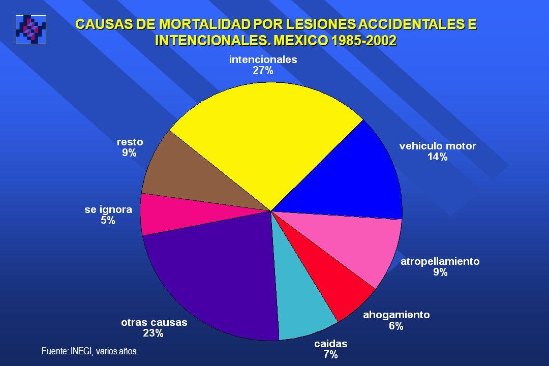 CAUSAS DE MORTALIDAD POR LESIONES ACCIDENTALES E INTENCIONALES.
