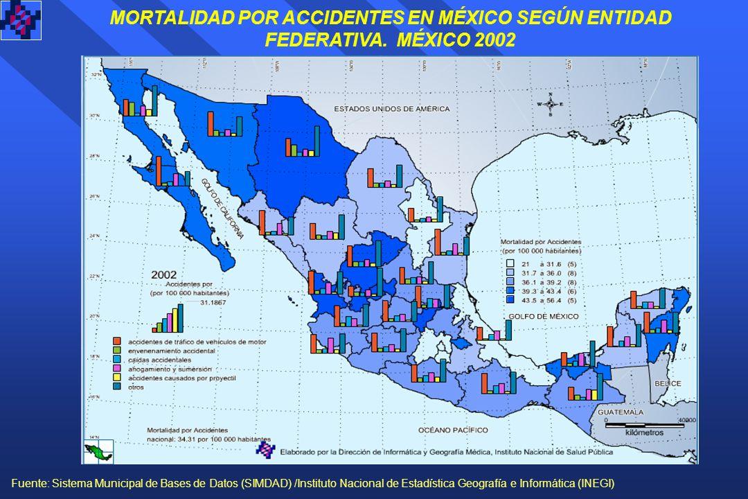 MORTALIDAD POR ACCIDENTES EN MÉXICO SEGÚN ENTIDAD FEDERATIVA.