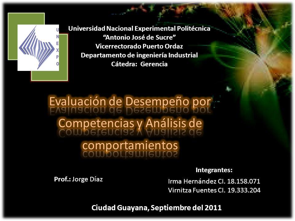 Universidad Nacional Experimental Politécnica Antonio José de Sucre Vicerrectorado Puerto Ordaz Departamento de ingeniería Industrial Cátedra: Gerenci