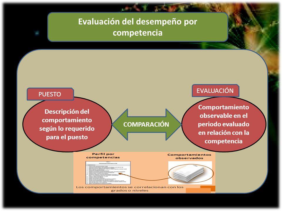 Evaluación del desempeño por competencia Descripción del comportamiento según lo requerido para el puesto Comportamiento observable en el periodo eval