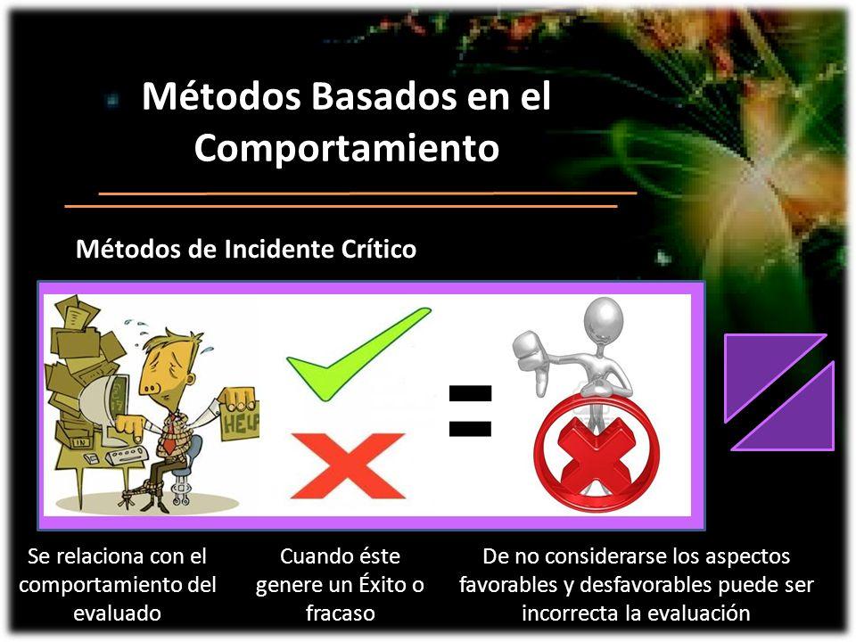Métodos Basados en el Comportamiento Métodos de Incidente Crítico Se relaciona con el comportamiento del evaluado Cuando éste genere un Éxito o fracas