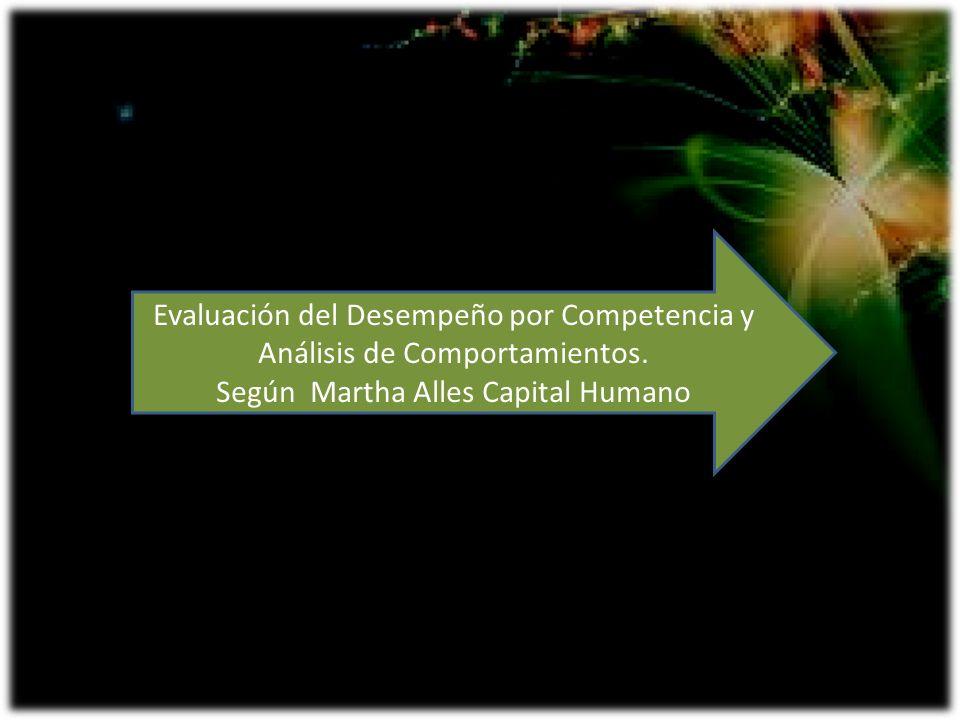 Evaluación del Desempeño por Competencia y Análisis de Comportamientos. Según Martha Alles Capital Humano