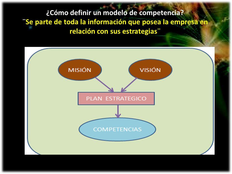 ¿Cómo definir un modelo de competencia? ¨Se parte de toda la información que posea la empresa en relación con sus estrategias¨