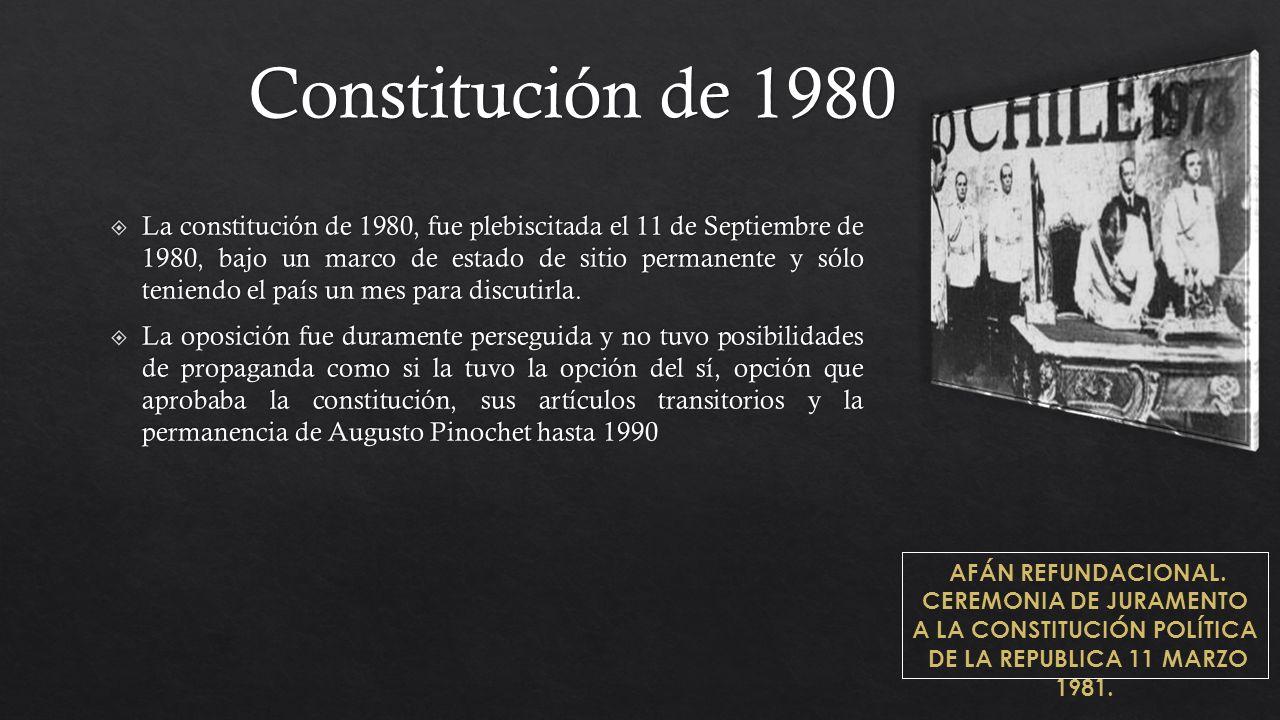 AFÁN REFUNDACIONAL. CEREMONIA DE JURAMENTO A LA CONSTITUCIÓN POLÍTICA DE LA REPUBLICA 11 MARZO 1981. Constitución de 1980
