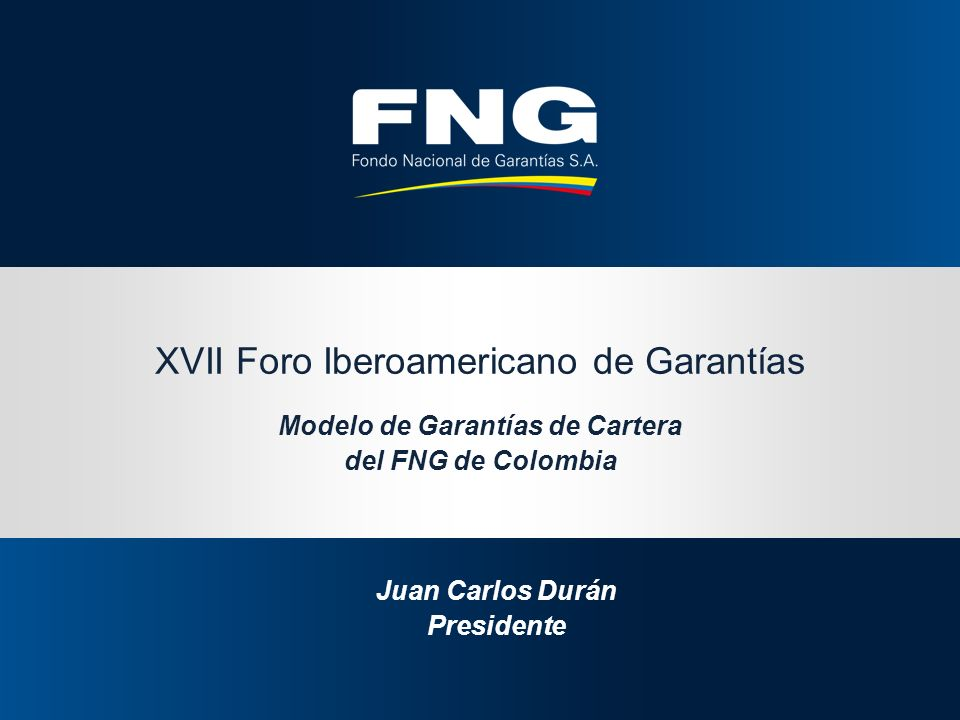 XVII Foro Iberoamericano de Garantías Modelo de Garantías de Cartera del FNG de Colombia Juan Carlos Durán Presidente