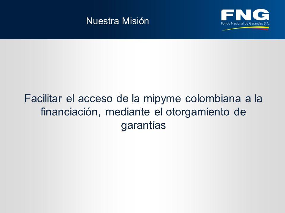 Nuestra Misión Facilitar el acceso de la mipyme colombiana a la financiación, mediante el otorgamiento de garantías