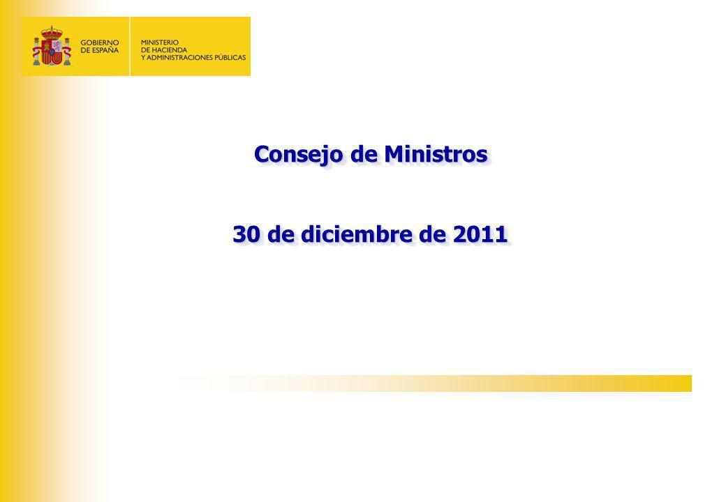 Consejo de Ministros 30 de diciembre de 2011 Consejo de Ministros 30 de diciembre de 2011