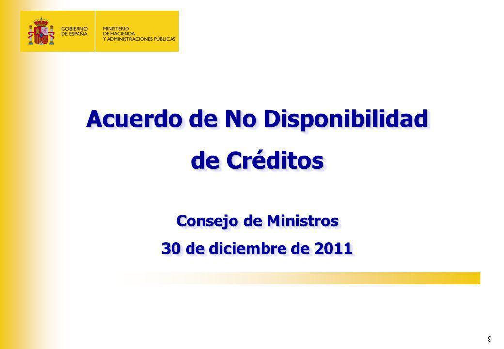 9 Acuerdo de No Disponibilidad de Créditos Consejo de Ministros 30 de diciembre de 2011 Acuerdo de No Disponibilidad de Créditos Consejo de Ministros