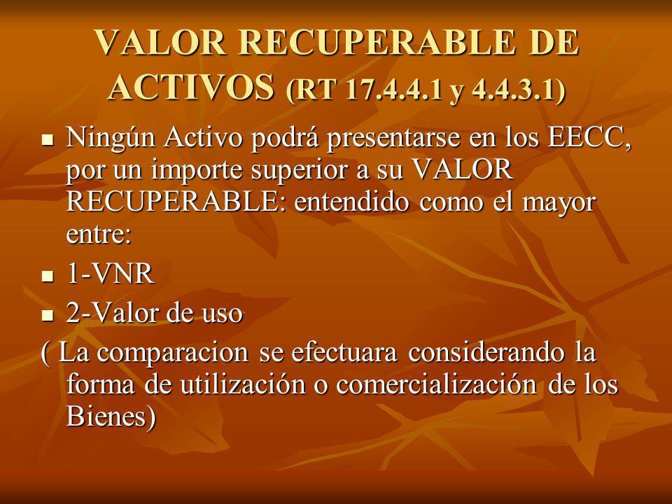VALOR RECUPERABLE DE ACTIVOS (RT 17.4.4.1 y 4.4.3.1) Ningún Activo podrá presentarse en los EECC, por un importe superior a su VALOR RECUPERABLE: ente