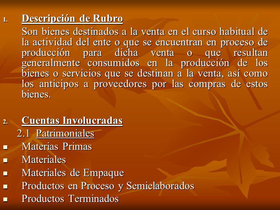 1. Descripción de Rubro Son bienes destinados a la venta en el curso habitual de la actividad del ente o que se encuentran en proceso de producción pa