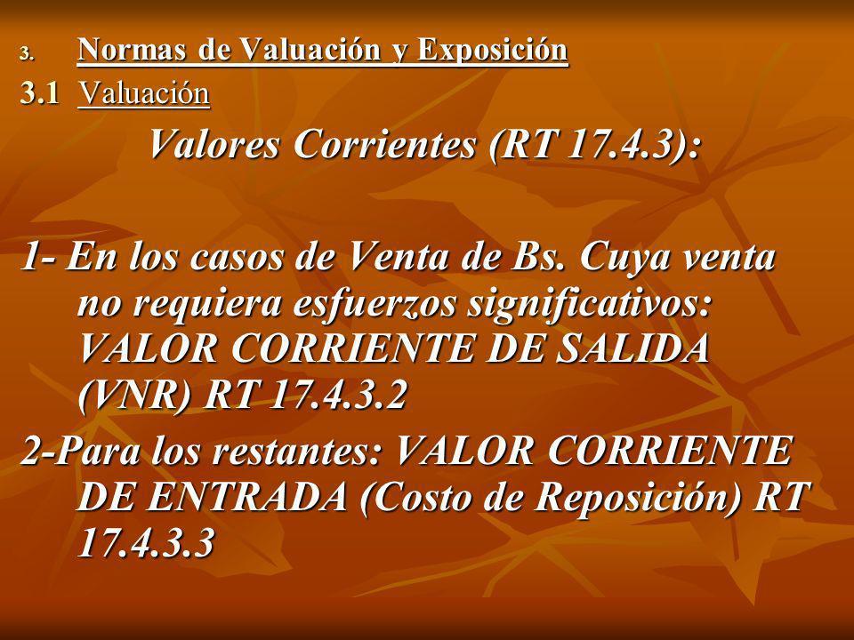 3. Normas de Valuación y Exposición 3.1 Valuación Valores Corrientes (RT 17.4.3): 1- En los casos de Venta de Bs. Cuya venta no requiera esfuerzos sig