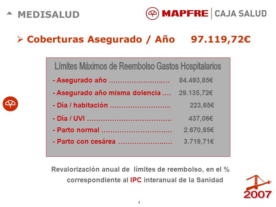 3 MEDISALUD Asistencia Extrahospitalaria: 80% Cirugía mayor Ambulatoria: 90% Asistencia Hospitalaria: 90% Reembolsos