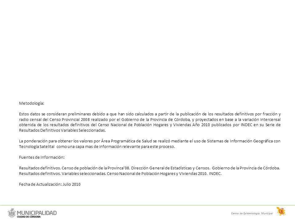 Centro de Epidemiologia Municipal Metodología: Estos datos se consideran preliminares debido a que han sido calculados a partir de la publicación de los resultados definitivos por fracción y radio censal del Censo Provincial 2008 realizado por el Gobierno de la Provincia de Córdoba, y proyectados en base a la variación intercensal obtenida de los resultados definitivos del Censo Nacional de Población Hogares y Viviendas Año 2010 publicados por INDEC en su Serie de Resultados Definitivos Variables Seleccionadas.