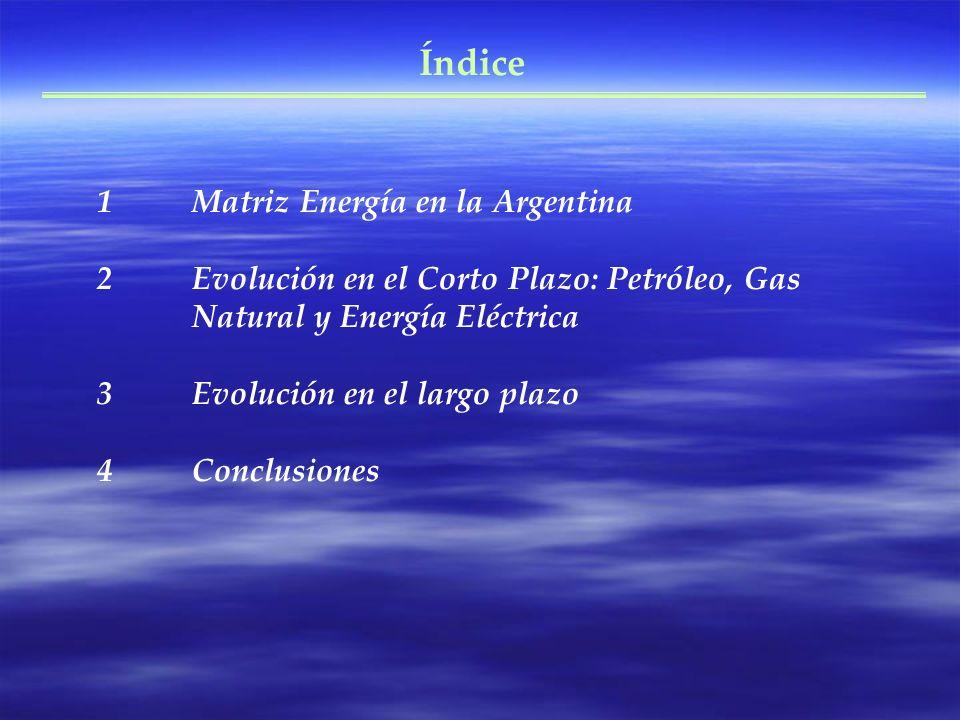 Índice 1Matriz Energía en la Argentina 2Evolución en el Corto Plazo: Petróleo, Gas Natural y Energía Eléctrica 3Evolución en el largo plazo 4Conclusio