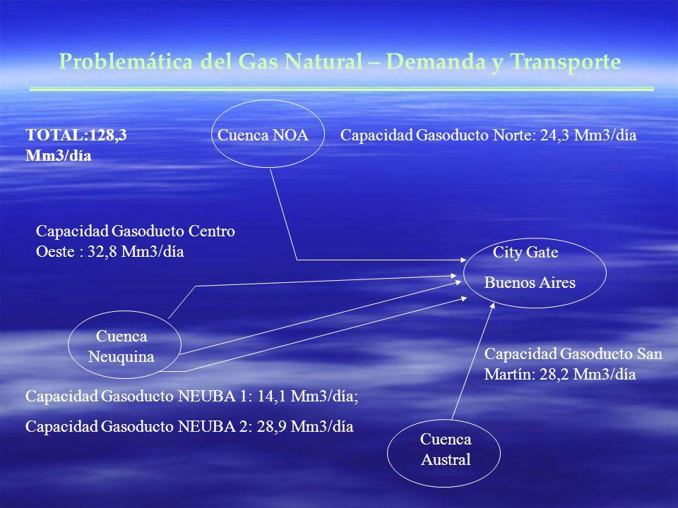 Problemática del Gas Natural – Demanda y Transporte City Gate Buenos Aires Cuenca NOA Cuenca Neuquina Cuenca Austral Capacidad Gasoducto Norte: 24,3 Mm3/día Capacidad Gasoducto Centro Oeste : 32,8 Mm3/día Capacidad Gasoducto NEUBA 1: 14,1 Mm3/día; Capacidad Gasoducto NEUBA 2: 28,9 Mm3/día Capacidad Gasoducto San Martín: 28,2 Mm3/día TOTAL:128,3 Mm3/día