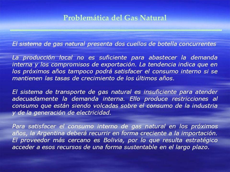 Problemática del Gas Natural El sistema de gas natural presenta dos cuellos de botella concurrentes La producción local no es suficiente para abastecer la demanda interna y los compromisos de exportación.