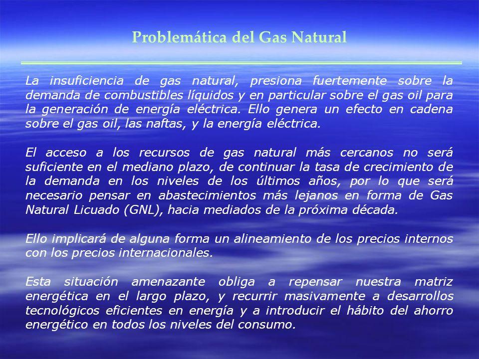 Problemática del Gas Natural La insuficiencia de gas natural, presiona fuertemente sobre la demanda de combustibles líquidos y en particular sobre el
