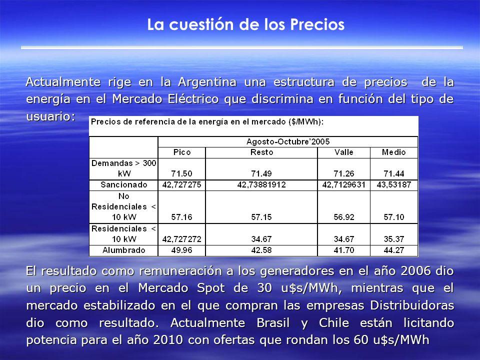 La cuestión de los Precios Actualmente rige en la Argentina una estructura de precios de la energía en el Mercado Eléctrico que discrimina en función del tipo de usuario: El resultado como remuneración a los generadores en el año 2006 dio un precio en el Mercado Spot de 30 u$s/MWh, mientras que el mercado estabilizado en el que compran las empresas Distribuidoras dio como resultado.
