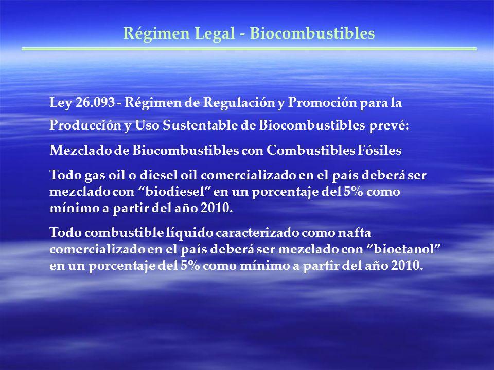 Ley 26.093 - Régimen de Regulación y Promoción para la Producción y Uso Sustentable de Biocombustibles prevé: Mezclado de Biocombustibles con Combusti