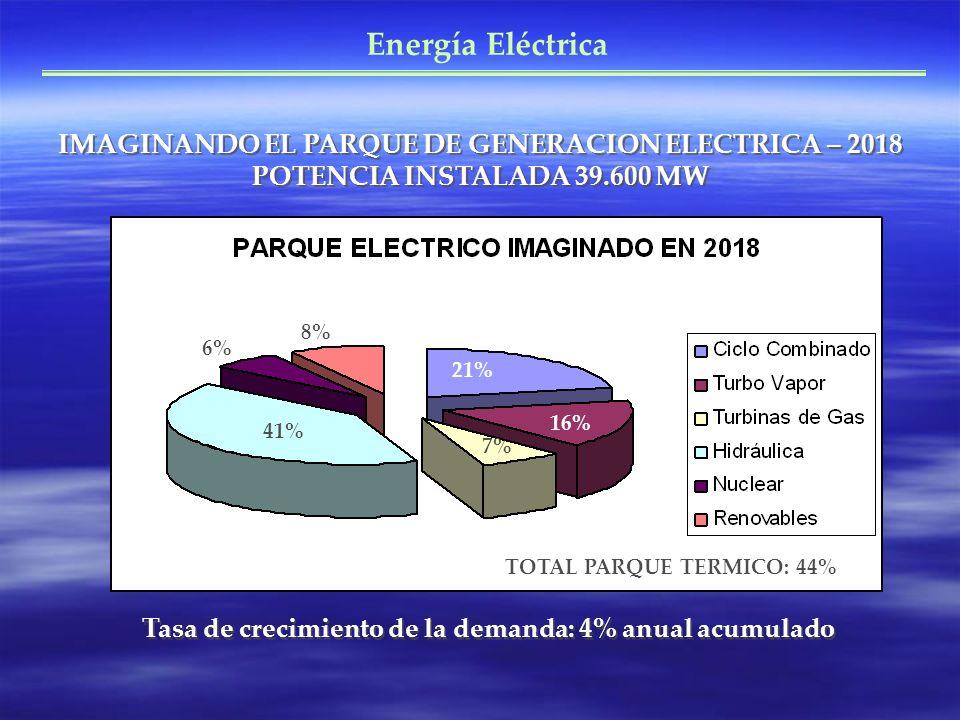 Energía Eléctrica IMAGINANDO EL PARQUE DE GENERACION ELECTRICA – 2018 POTENCIA INSTALADA 39.600 MW Tasa de crecimiento de la demanda: 4% anual acumulado 21% 16% 7% 41% 6% 8% TOTAL PARQUE TERMICO: 44%