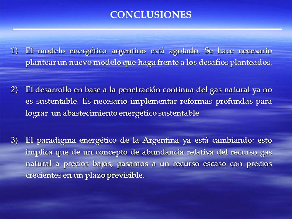 CONCLUSIONES 1)El modelo energético argentino está agotado. Se hace necesario plantear un nuevo modelo que haga frente a los desafíos planteados. 2)El