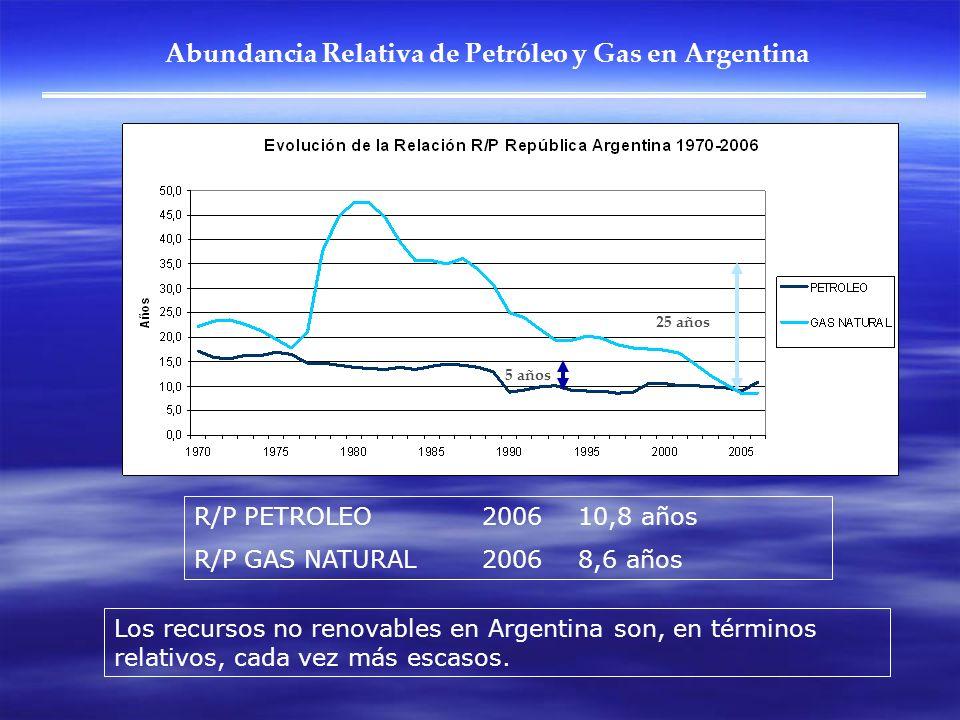 Abundancia Relativa de Petróleo y Gas en Argentina Los recursos no renovables en Argentina son, en términos relativos, cada vez más escasos. R/P PETRO