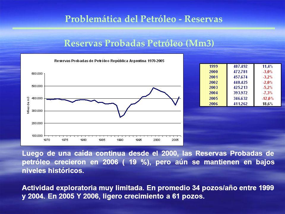 Problemática del Petróleo - Reservas Reservas Probadas Petróleo (Mm3) Luego de una caída continua desde el 2000, las Reservas Probadas de petróleo crecieron en 2006 ( 19 %), pero aún se mantienen en bajos niveles históricos.