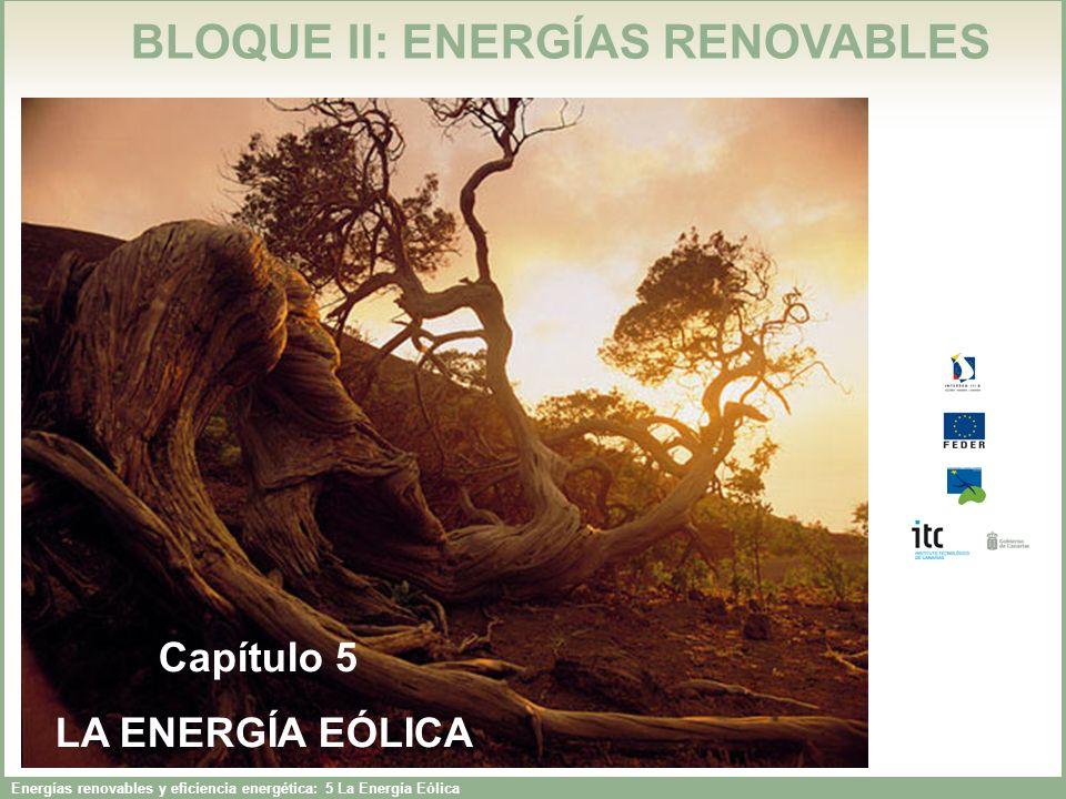 Energías renovables y eficiencia energética: 5 La Energía Eólica BLOQUE II: ENERGÍAS RENOVABLES Capítulo 5 LA ENERGÍA EÓLICA Capítulo 5 LA ENERGÍA EÓLICA