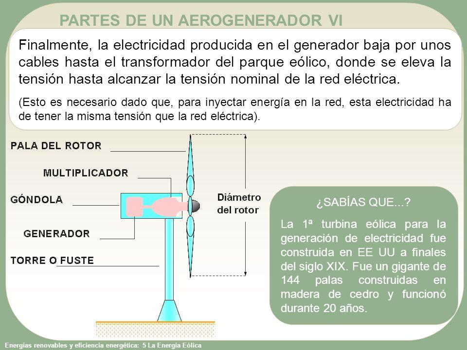 Energías renovables y eficiencia energética: 5 La Energía Eólica PARTES DE UN AEROGENERADOR VI ¿SABÍAS QUE...? La 1ª turbina eólica para la generación
