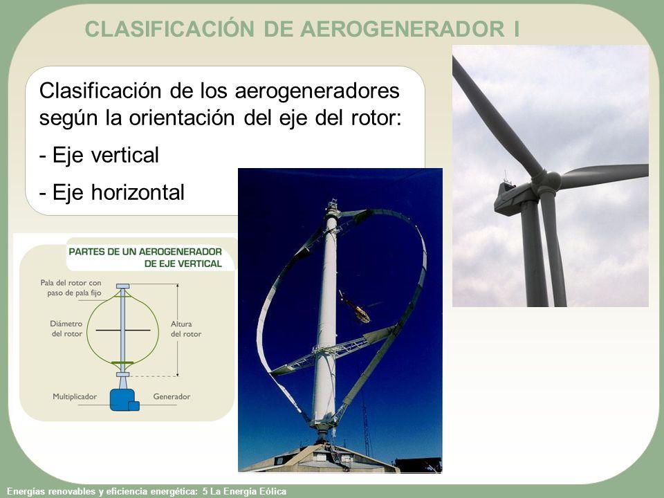Energías renovables y eficiencia energética: 5 La Energía Eólica CLASIFICACIÓN DE AEROGENERADOR I Clasificación de los aerogeneradores según la orientación del eje del rotor: - Eje vertical - Eje horizontal