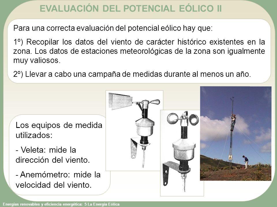 Energías renovables y eficiencia energética: 5 La Energía Eólica EVALUACIÓN DEL POTENCIAL EÓLICO II Para una correcta evaluación del potencial eólico