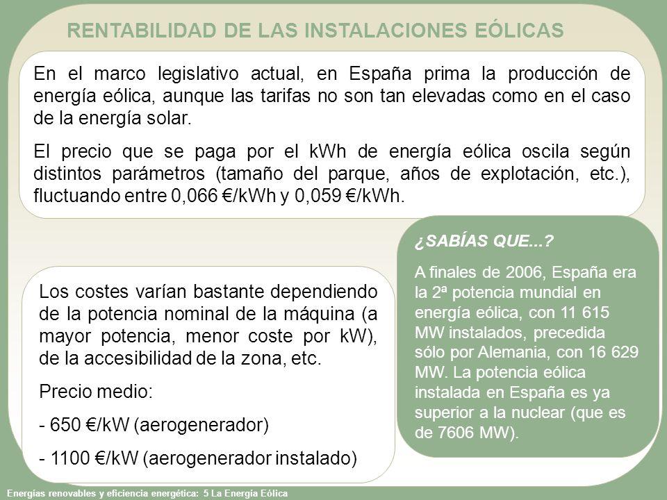 Energías renovables y eficiencia energética: 5 La Energía Eólica RENTABILIDAD DE LAS INSTALACIONES EÓLICAS En el marco legislativo actual, en España p